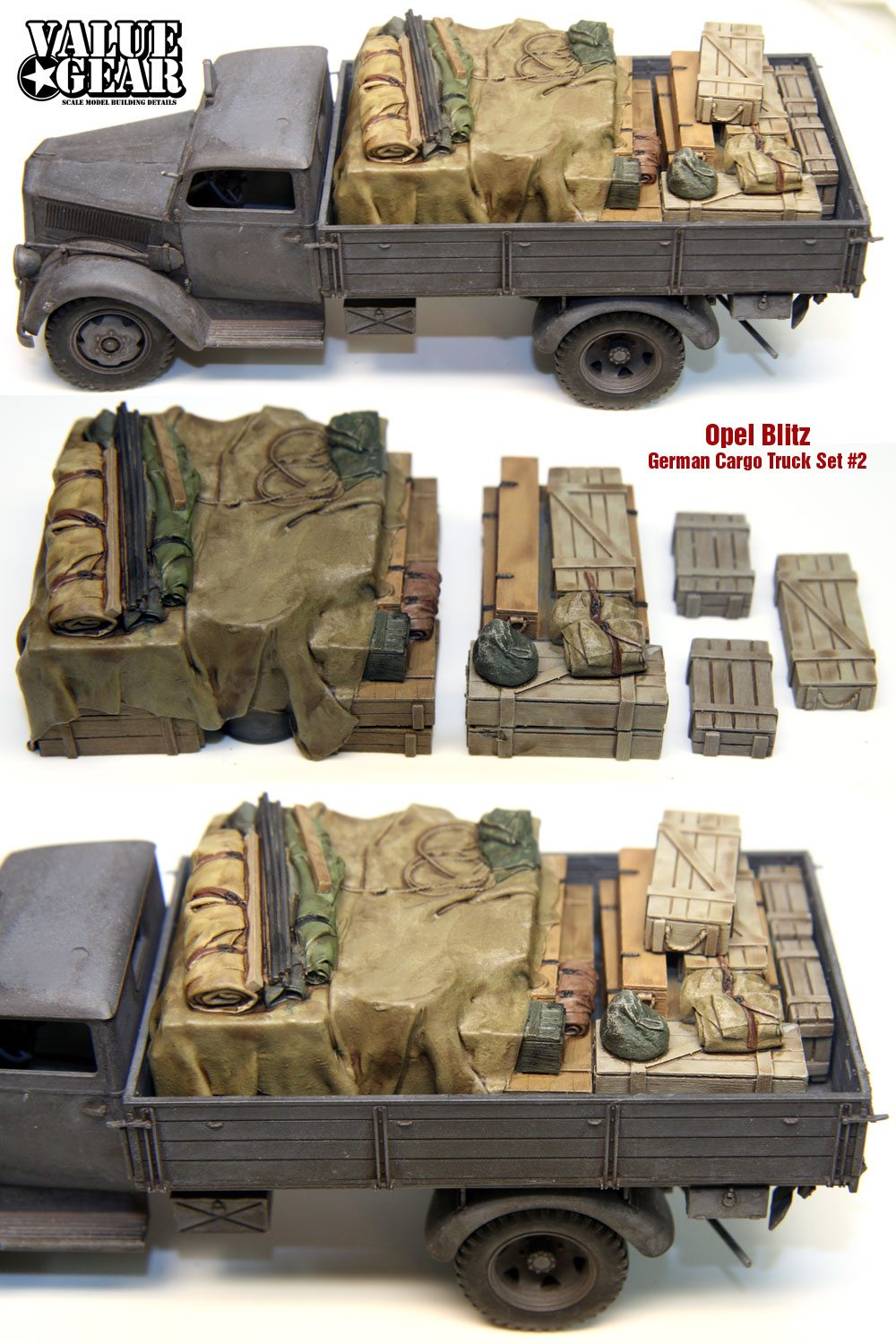 1//35 Scale resin kit Universal #4 Tarp Covered Crates Generic Truckload